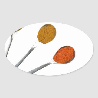Five seasoning spices on metal spoons oval sticker