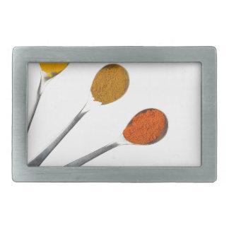 Five seasoning spices on metal spoons rectangular belt buckle