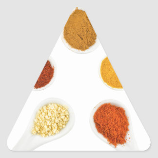 Five seasoning spices on porcelain spoons triangle sticker