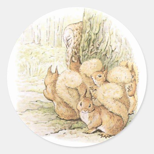 Five Squirrels Classic Round Sticker