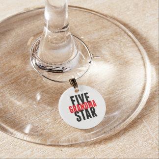Five Star Grandma Wine Glass Charm