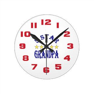 Five Star Grandpa Round Clock