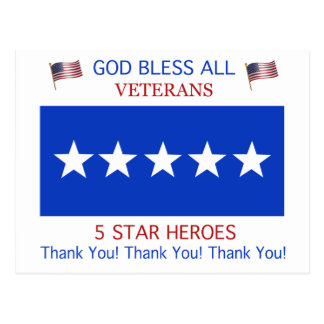 Five Star Support for Veterans Postcard