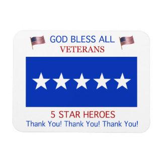 Five Star Support for Veterans Rectangular Magnets