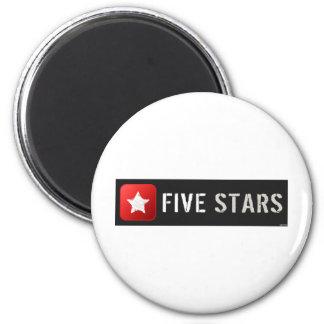 Five Stars 2 Inch Round Magnet