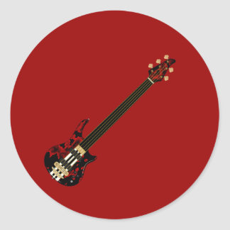 Five String Fretles Bass Guitar (red blob) Classic Round Sticker