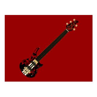 Five String Fretles Bass Guitar (red blob) Postcard