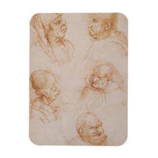 Five Studies of Grotesque Faces (red chalk on pape Magnet