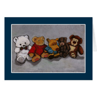 Five Teddy Bears: Oil Pastel: From All Of Us Card