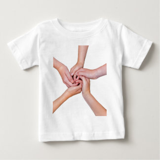 Five teenage arms with hands entangled baby T-Shirt