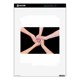 Five teenage arms with hands entangled on black decal for the iPad 2