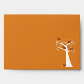 Five Thanksgiving Turkeys in a Tree Envelope
