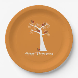 Five Thanksgiving Turkeys in a Tree Paper Plate