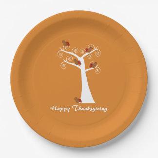 Five Thanksgiving Turkeys in a Tree Paper Plate