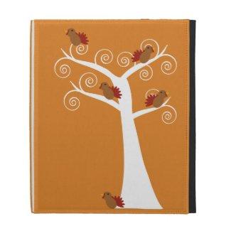 Five Thanksgiving Turkeys in Tree ipad folio case
