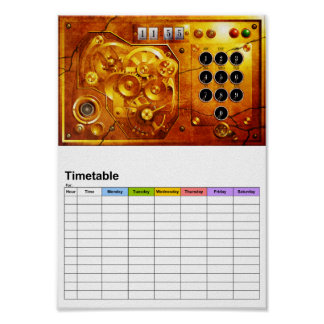 Five to of 12 Steampunk clock Grunge Poster
