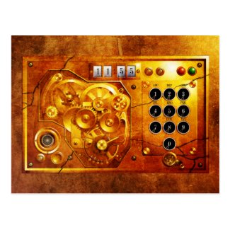 Five to of 12 Steampunk clock Grunge Postkarte