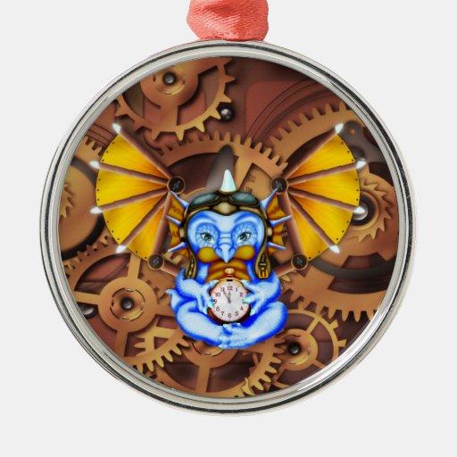 """Five to Twelve"" steampunk dragon ornament"