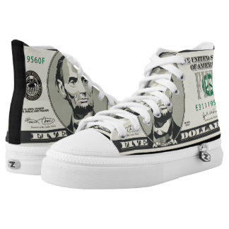 Five US $ Dollars Cash Money Currency Bankonote High-Top Sneakers