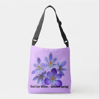 Five violet crocuses 05.2.T.2, spring greetings Crossbody Bag