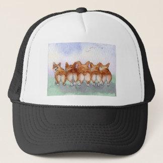 Five walk away together... trucker hat