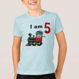 Five year old toy train birthday boy T-Shirt