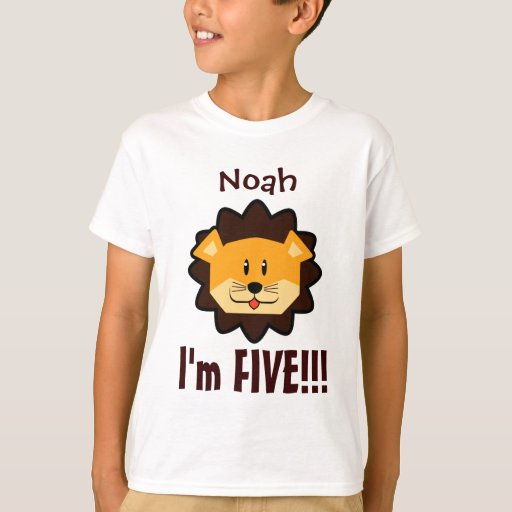 Five Years 5th Birthday Cute Lion Face V030N T-Shirt