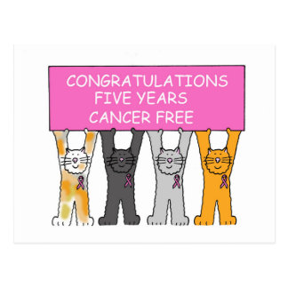 Five years Cancer Fee Congratulations. Postcard