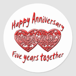Five Years Together Classic Round Sticker