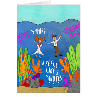 Five Years Under Water Funny Anniversary Card