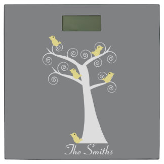 Five Yellow Birds in a Tree Bathroom Scale