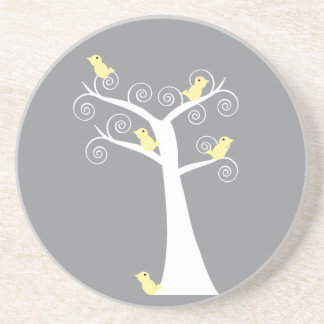Five Yellow Birds in a Tree Coaster
