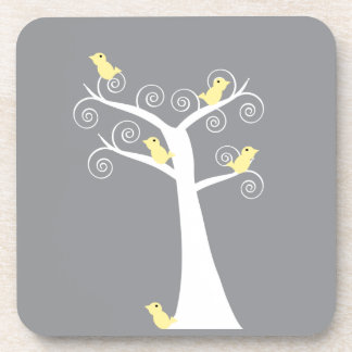 Five Yellow Birds in a Tree Cork Coaster