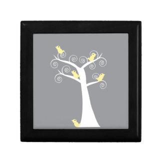 Five Yellow Birds in a Tree giftbox Jewelry Box