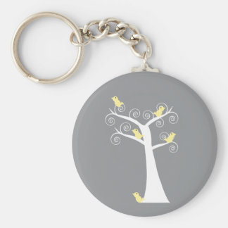 Five Yellow Birds in a Tree Keychain