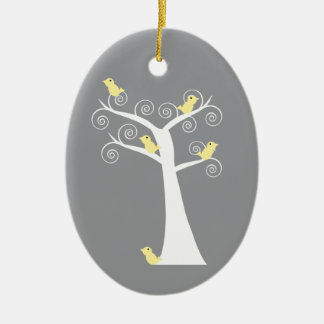 Five Yellow Birds in a Tree Ornament