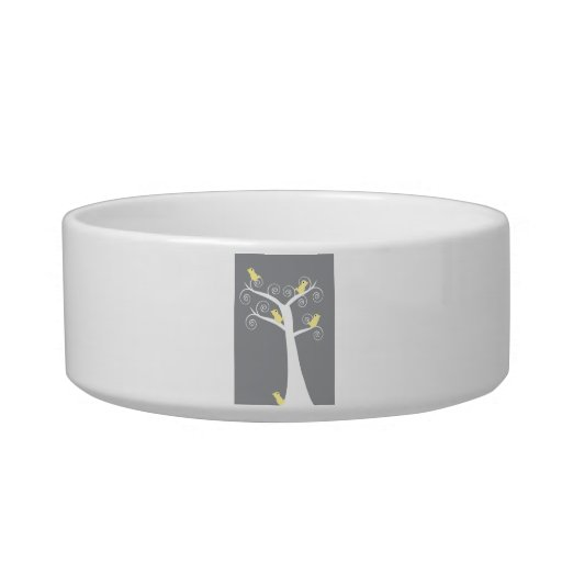 Five Yellow Birds in a Tree Pet Bowl