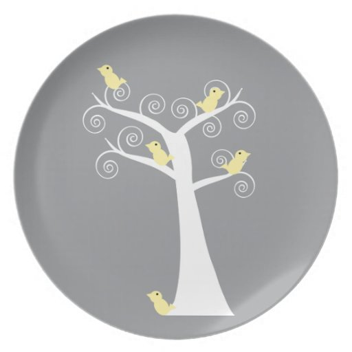 Five Yellow Birds in a Tree Plate