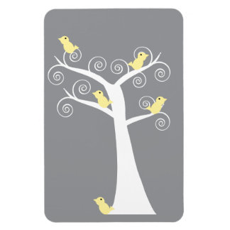 Five Yellow Birds in a Tree Premium Flexi Magnet