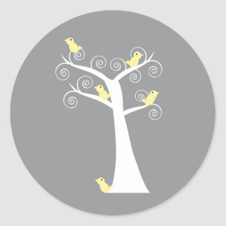 Five Yellow Birds in a Tree Sticker
