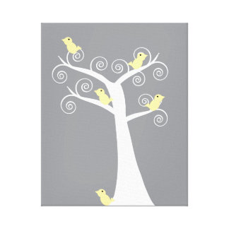 Five Yellow Birds in a Tree Stretched Canvas Print