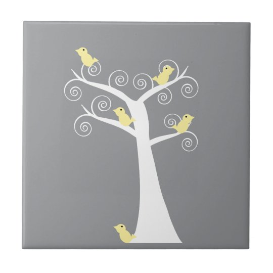 Five Yellow Birds in a Tree Tile