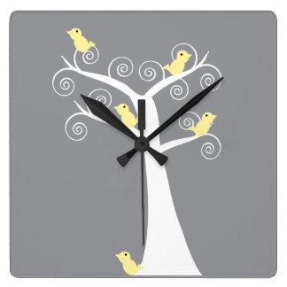 Five Yellow Birds in a Tree Wall Clock