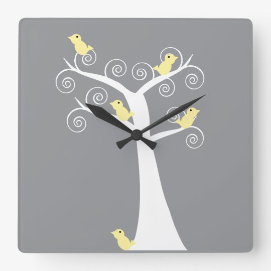 Five Yellow Birds in a Tree Wall Clock