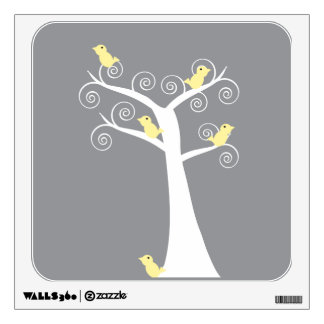 Five Yellow Birds in a Tree Wall Decal