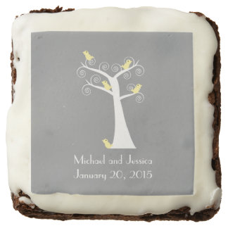 Five Yellow Birds in a Tree Wedding Chocolate Brownie