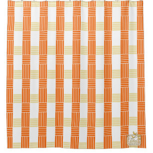 Fives Lines Cross Orange Shower Curtain Set