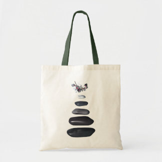 Fives stones and white orchids canvas bag