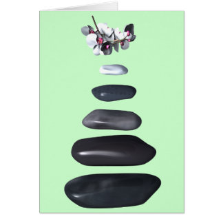 Fives stones and white orchids card
