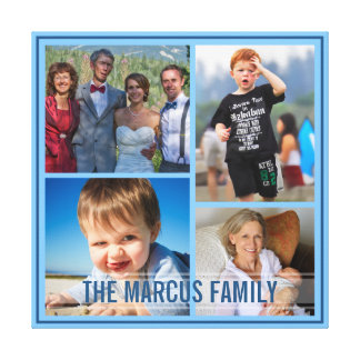 Fix Blue Border Custom Family Photo Collage Gallery Wrap Canvas